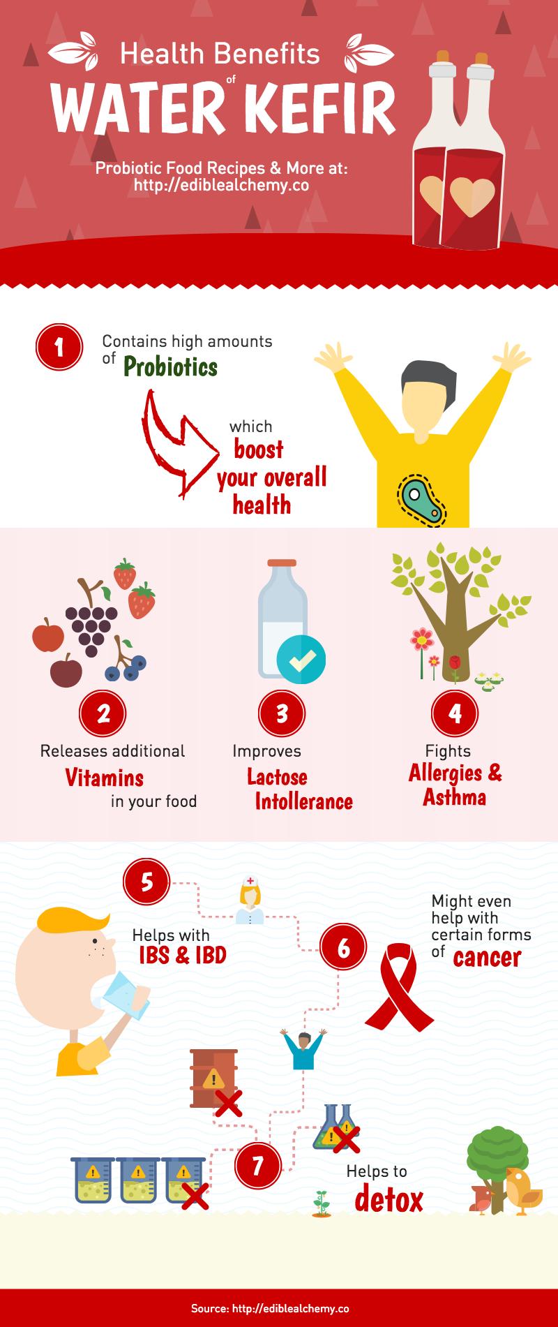 Water Kefir Health Benefits Infographic