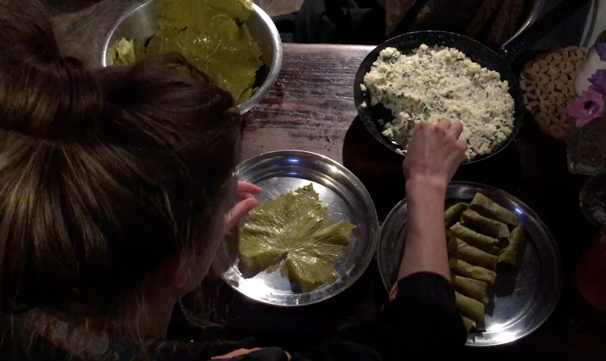 rolling grape leaves dolmades