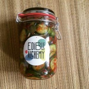 cucumber kimchi in edible alchemy jar