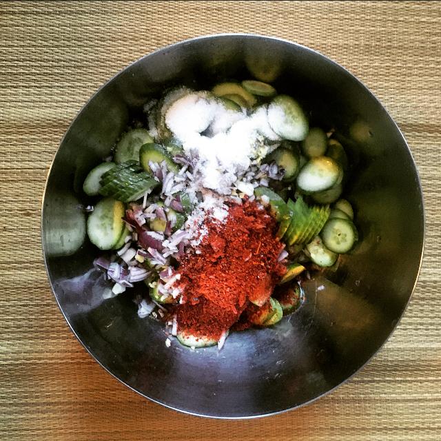 cucumber kimchi ingredients in bowl